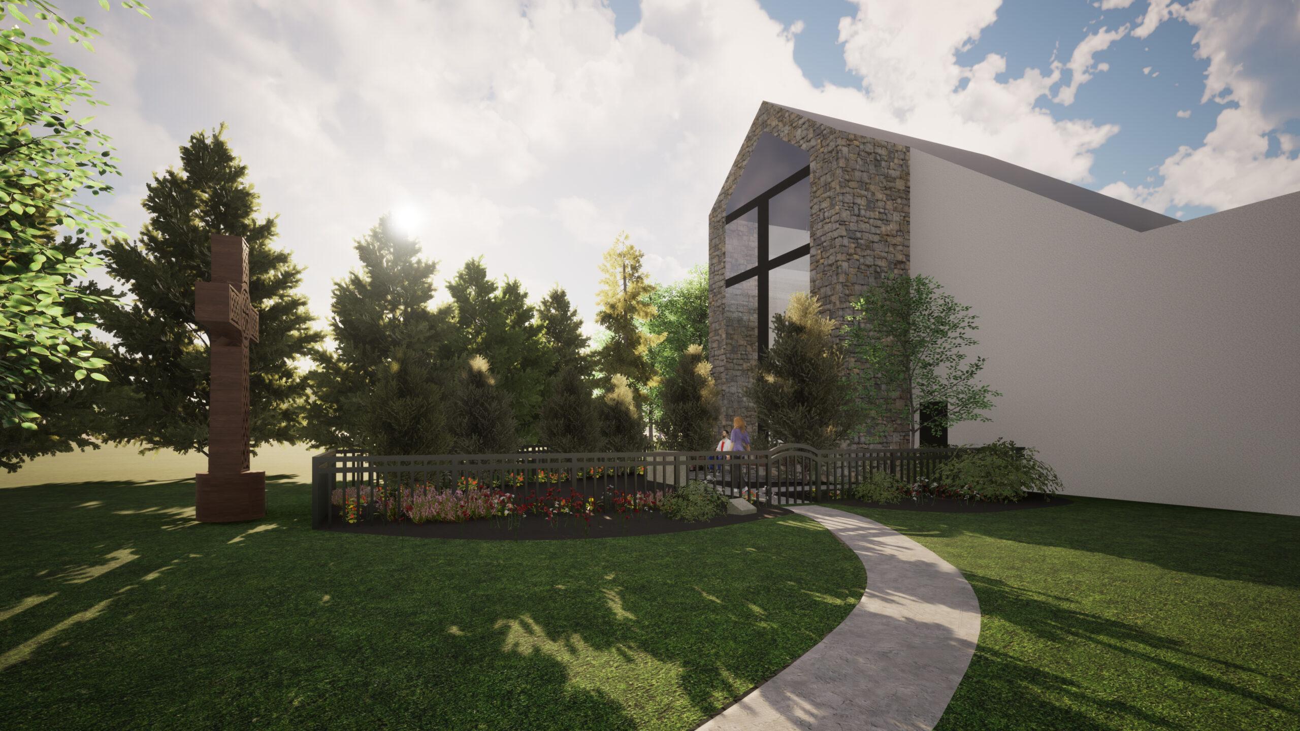 Memorial Garden Rendering for 2020 Beautification - Walkway View