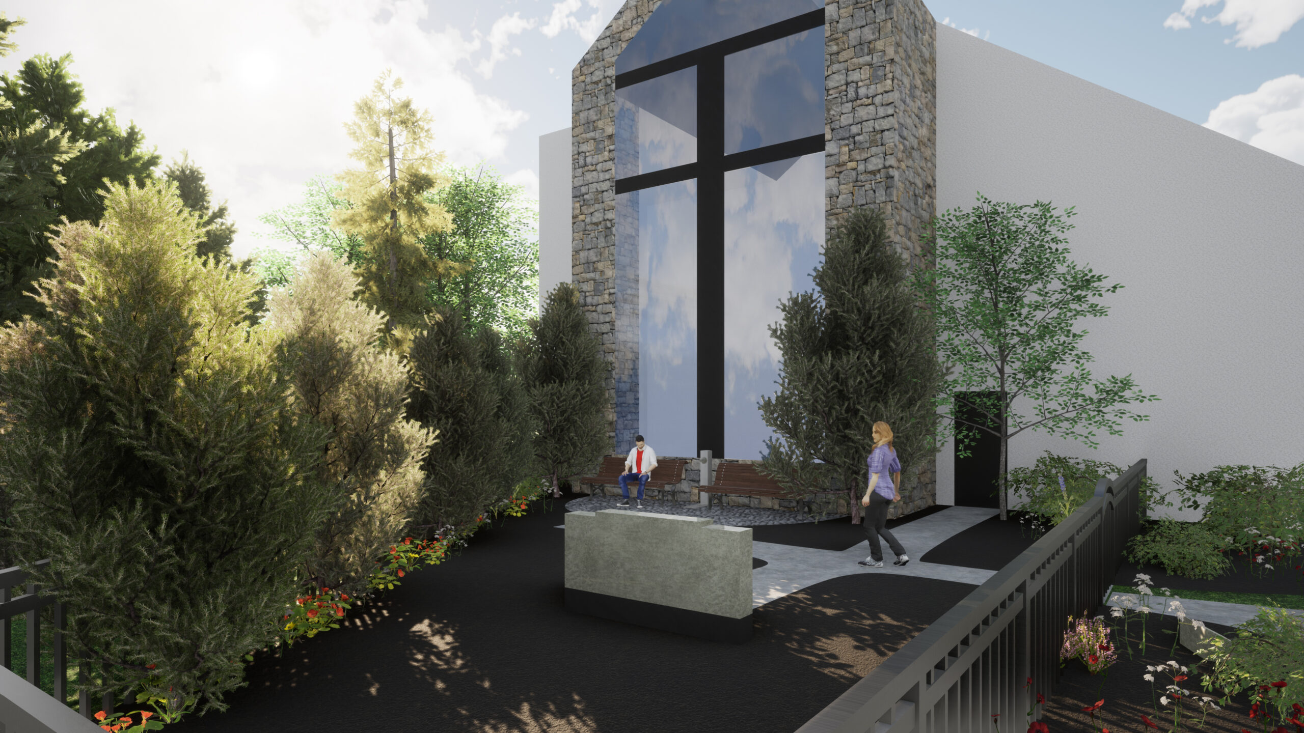 Memorial Garden Rendering for 2020 Beautification - Church View