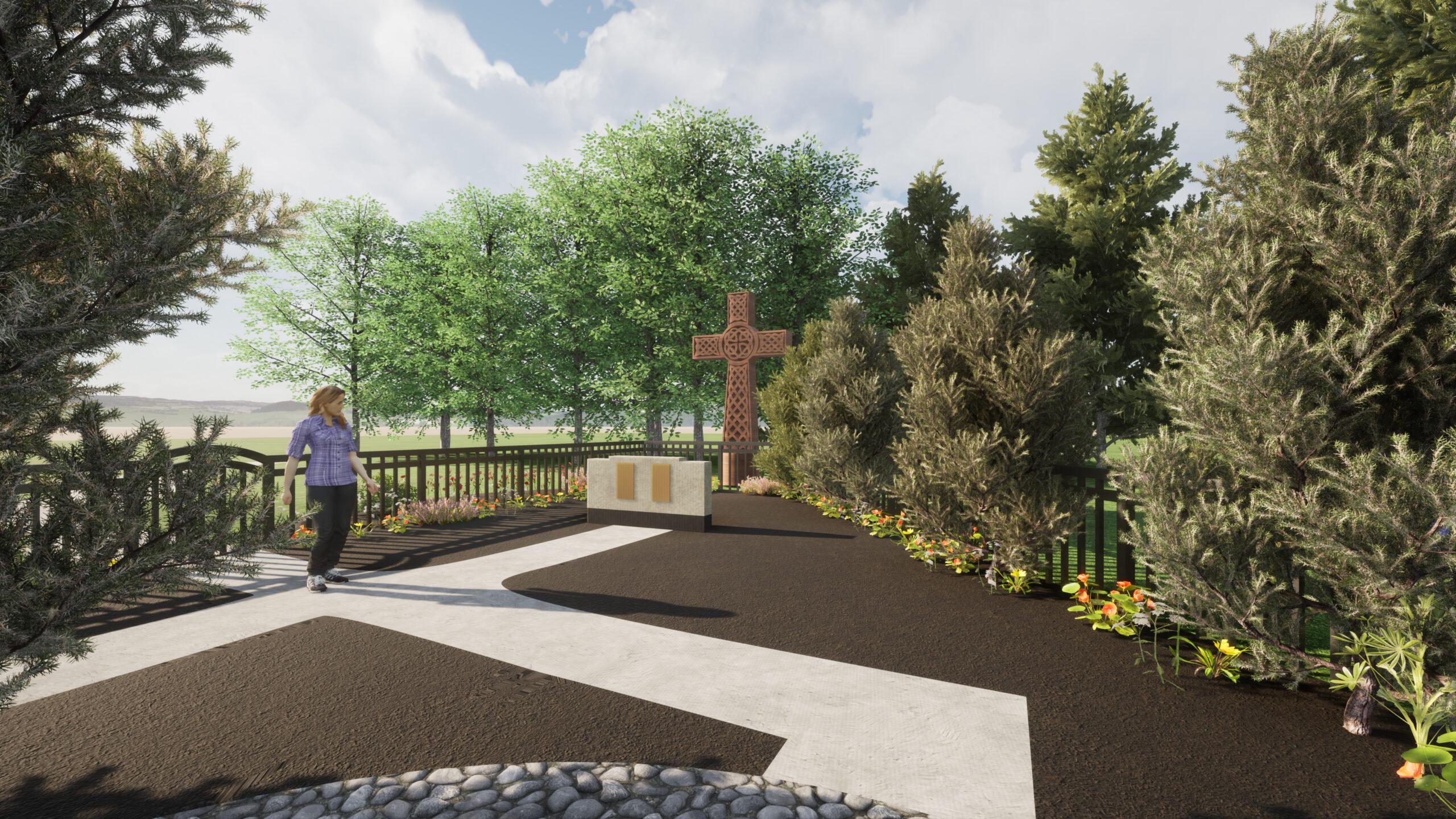 Memorial Garden Rendering for 2020 Beautification - Cross View