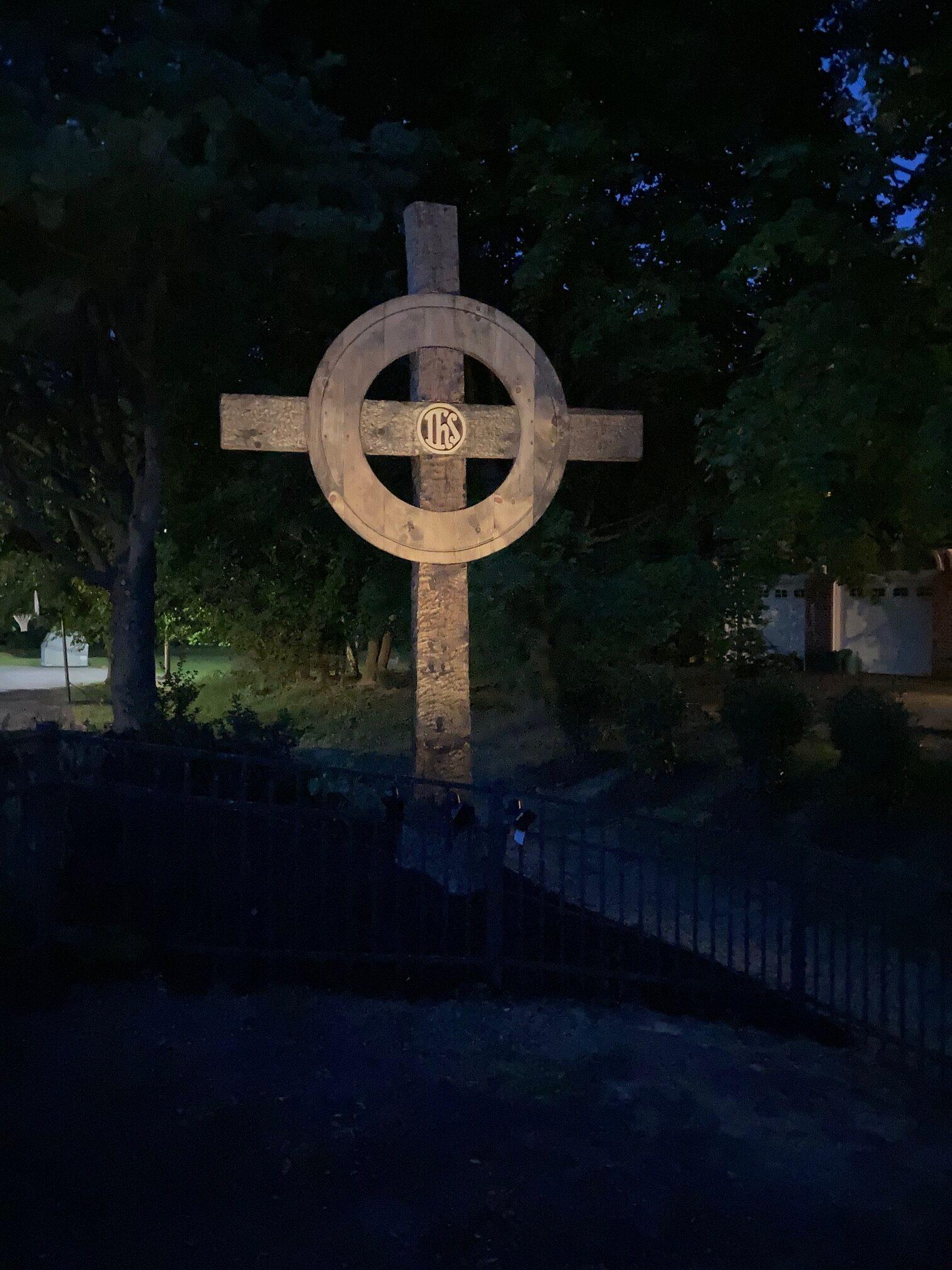 Memorial Garden Cross at Night
